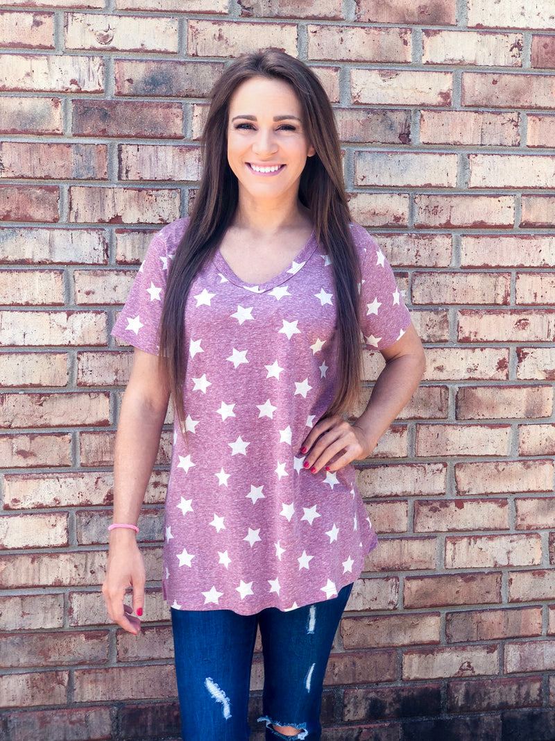 Mauve short sleeve star tee
