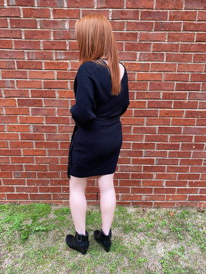 Winter Nights Black Sweater Dress