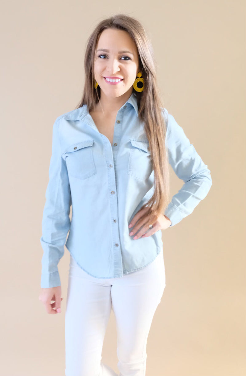 Blue Button Down Top