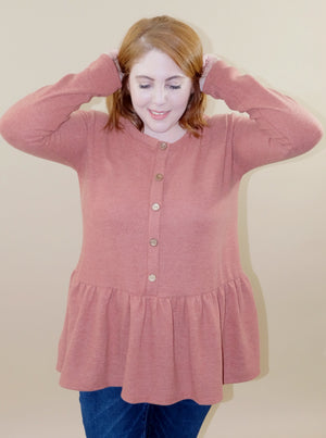 Cute as a Button Rust Top - Emmy Lu & Auggie