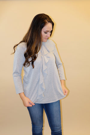 Ruffle Your Feathers Grey Ruffle Top - Emmy Lu & Auggie