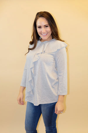 Ruffle Your Feathers Grey Ruffle Top- Emmy Lu & Auggie
