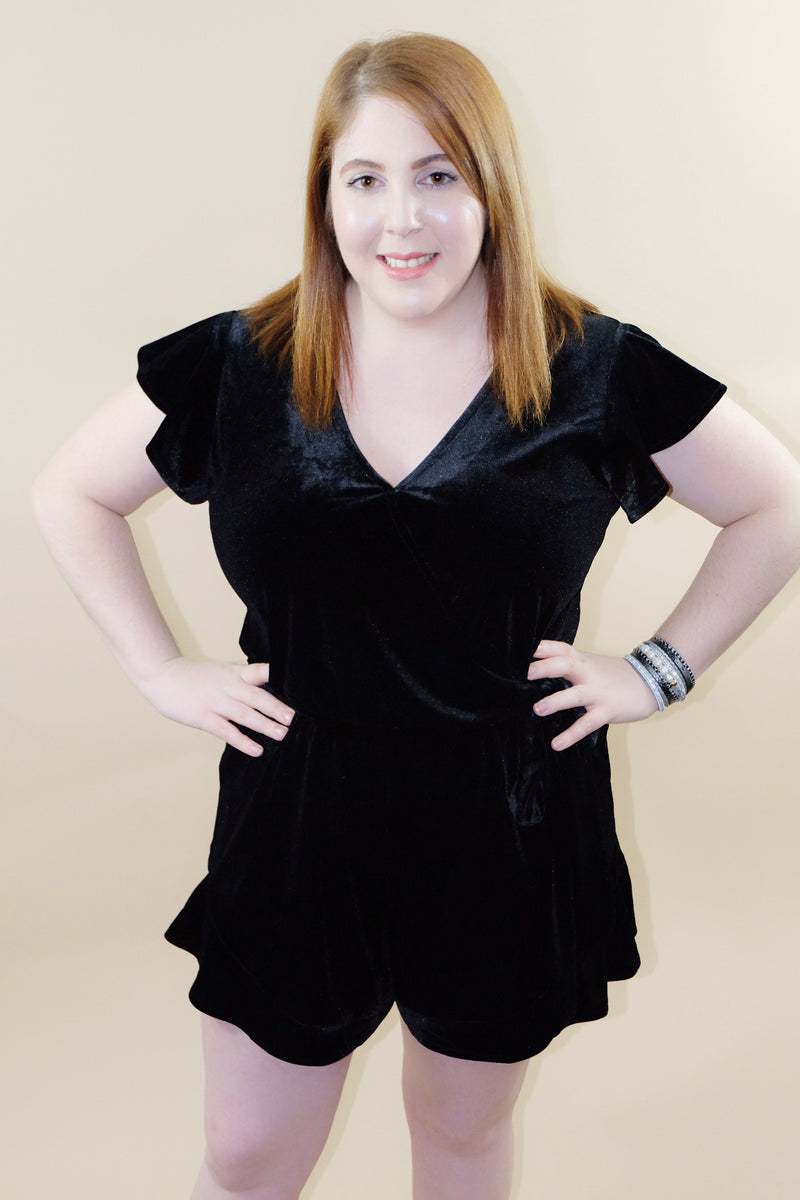 Smooth and Sassy Black Velvet Romper - Emmy Lu & Auggie