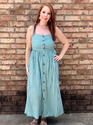 sage button down sleeveless striped summer dress