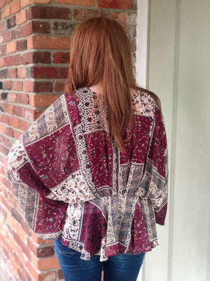 All Put Together Burgundy Patchwork Top