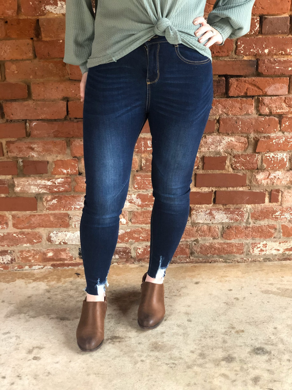 Keep on Going Dark Wash Ankle Stretch Jeans