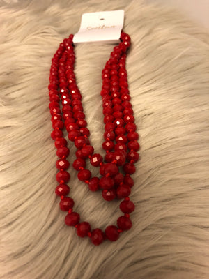 Red hand knotted glass beaded necklace. - Emmy Lu & Auggie