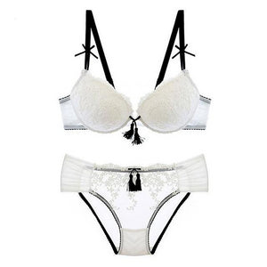 Push-up Thick Cotton Brassiere Embroider Lingerie Set