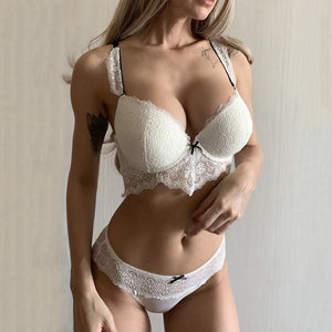 Cotton Thick Lingerie Set Embroidery