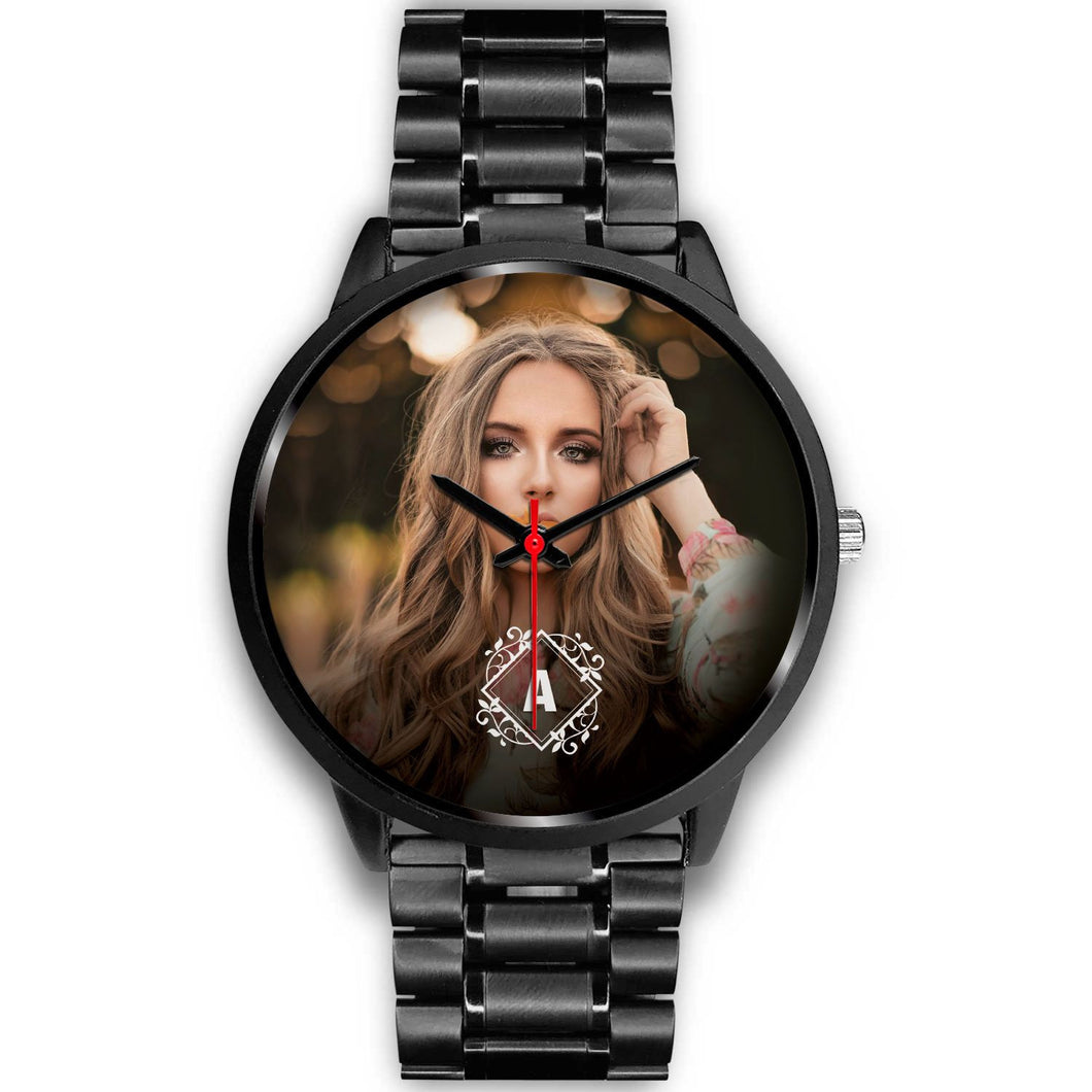PERSONALIZED Black Watch with MONOGRAM