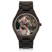 Load image into Gallery viewer, PERSONALIZED Engraved Wooden Watch with TEXT