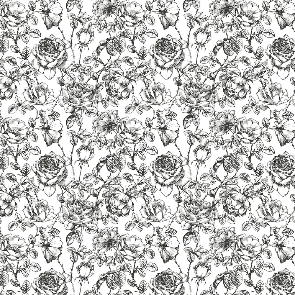J157 BLACK AND WHITE VINTAGE FLORAL PRINT