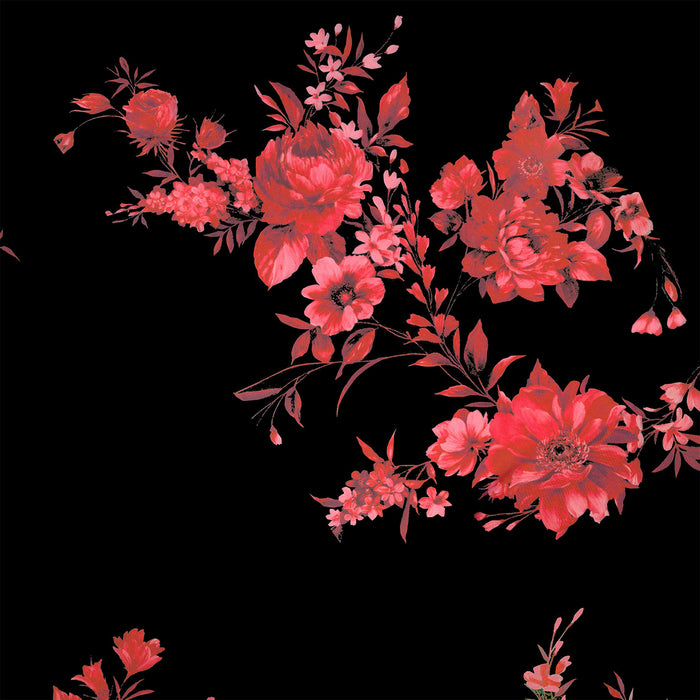 S164 RED AND BACK FLORAL PRINT