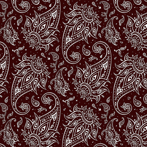 J182  BURGUNDY AND WHITE PAISLEY  PRINT