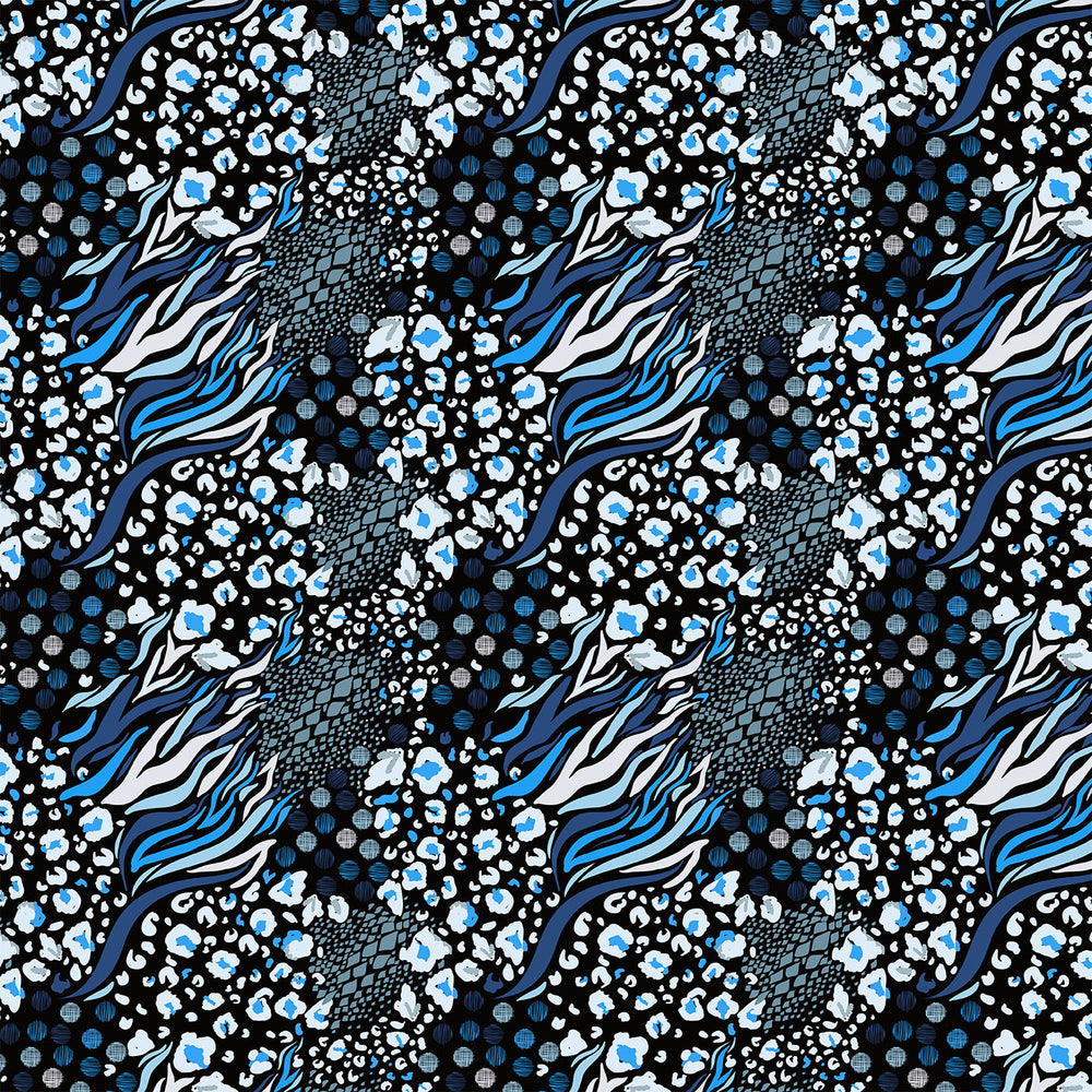 J210  MIXED ANIMAL BLUE AND BLACK PRINT