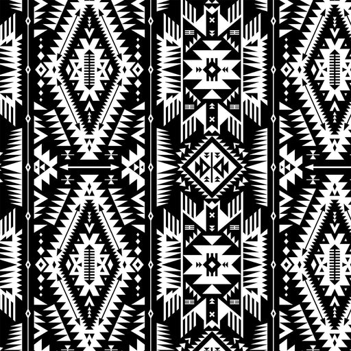 J217  BLACK AND WHITE VINTAGE AZTEC PRINT