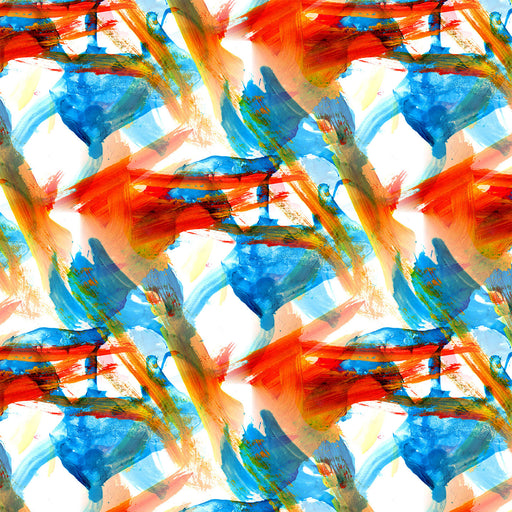 V262 BLUE AND ORANGE PAINT STROKE ABSTRACT PRINT