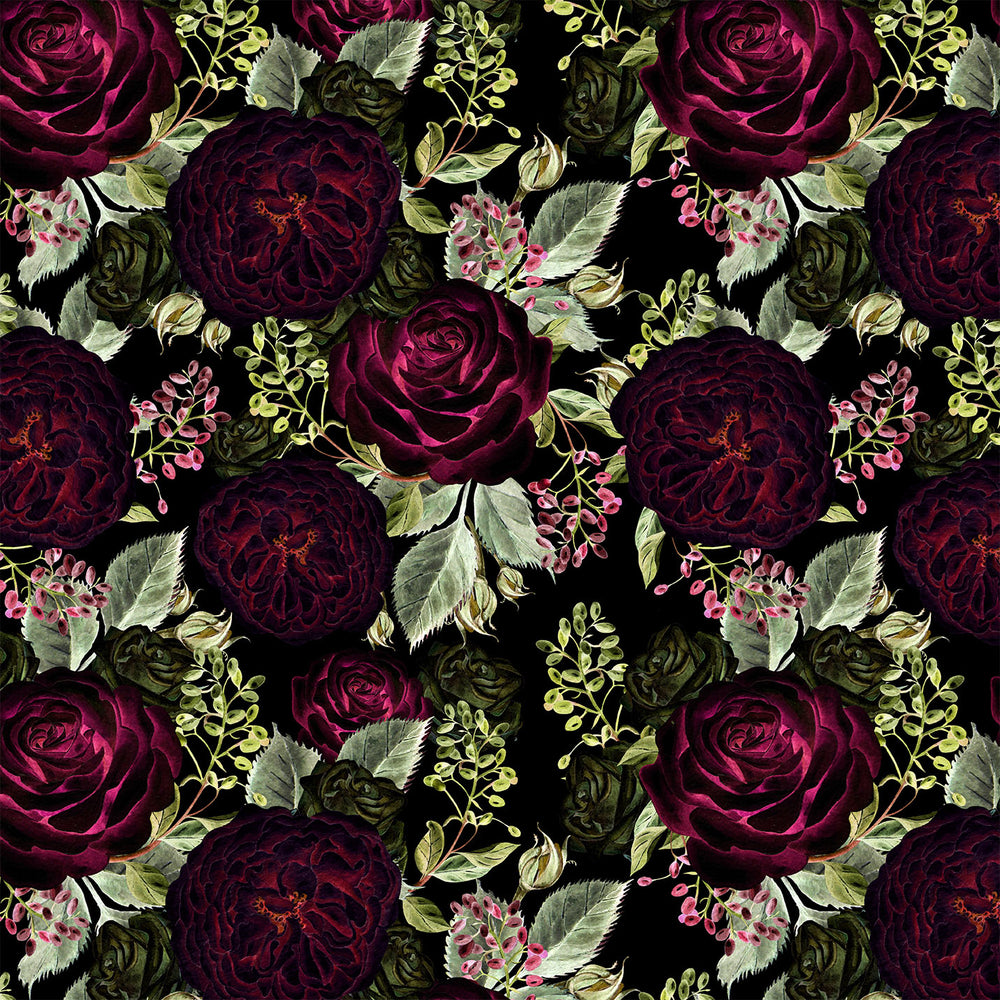 V2869 RED BLACK ROSE FLORAL PRINT
