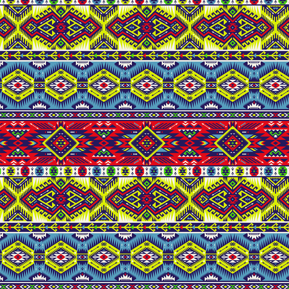 S305 LIME BLUE RED AZTEC PRINT