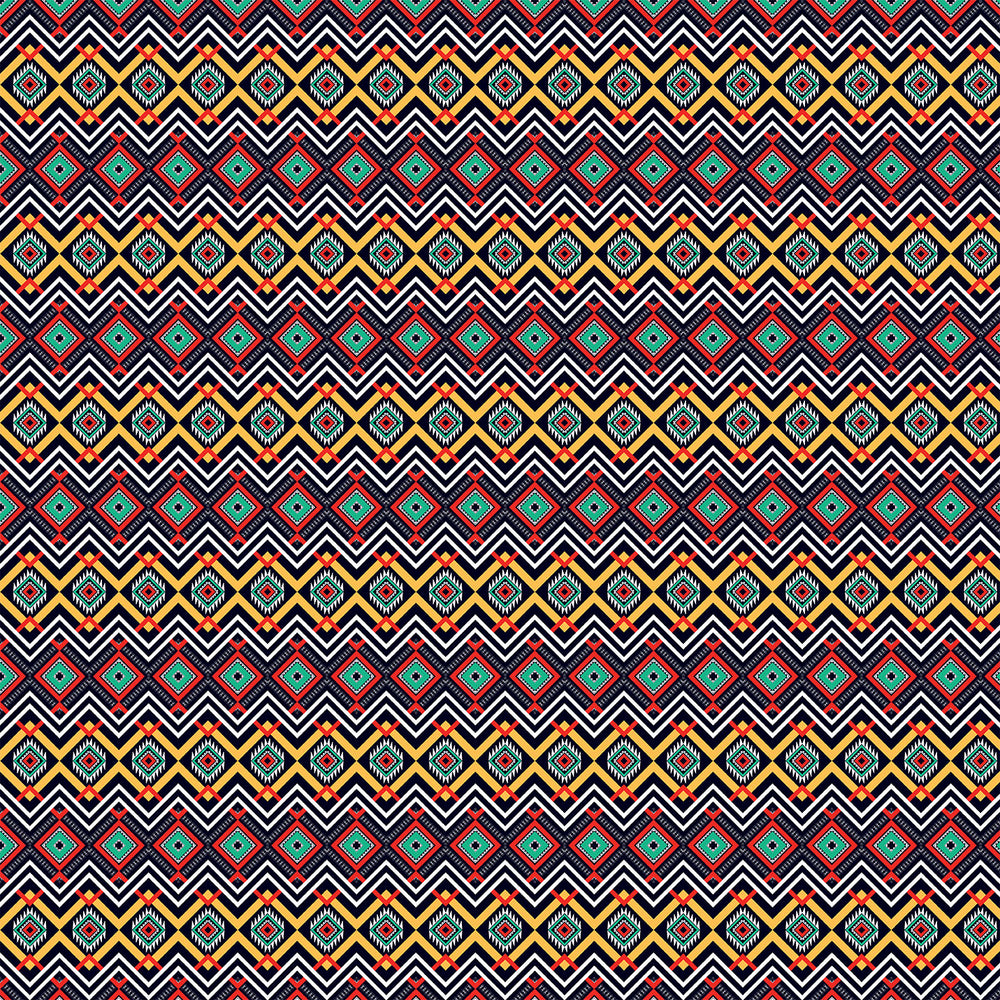 S304 RED YELLOW GREEN AZTEC PRINT