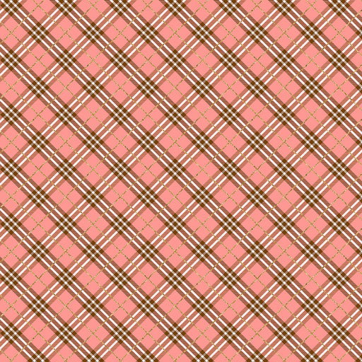 J379 PEACH PLAID PRINT