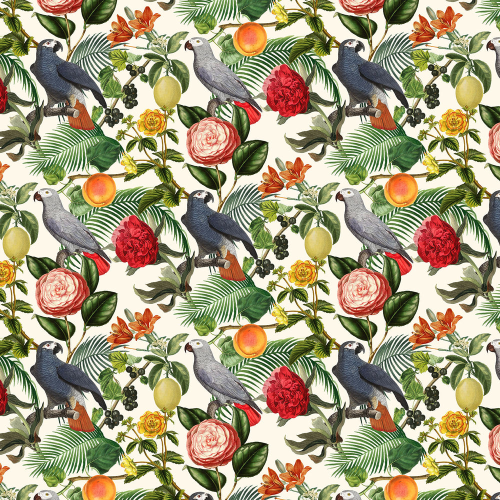 J446 TROPICAL BIRD FLORAL PRINT