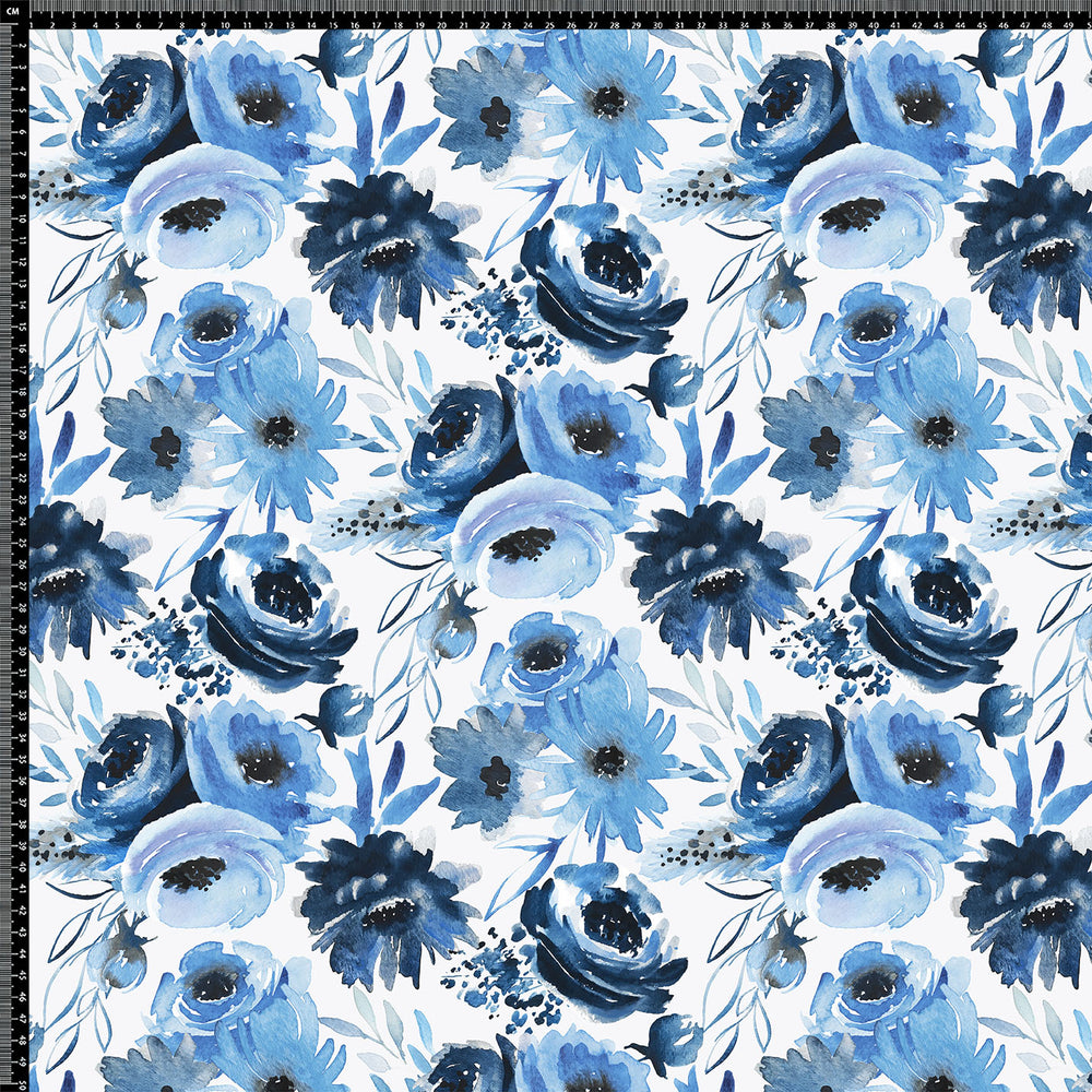 J474 BLUE HAND DRAWN FLORAL PRINT