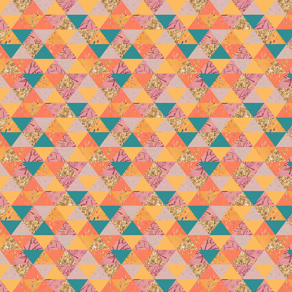 J536 GOLD ORANGE GEOMETRIC PRINT