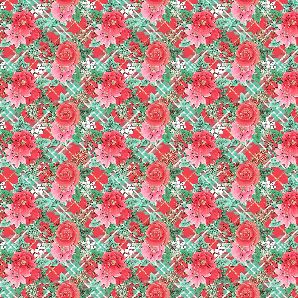 J615  PLAID ROSE PRINT