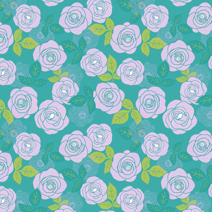 J633 DOTS PURPLE ROSES PRINT