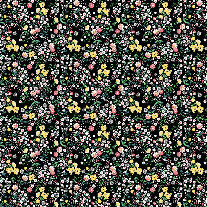S643 DITSY FLORAL MIX ON BLACK PRINT