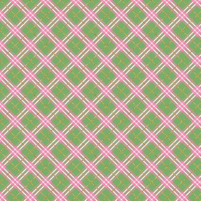 J643 GREEN AND PINK PLAID PRINT