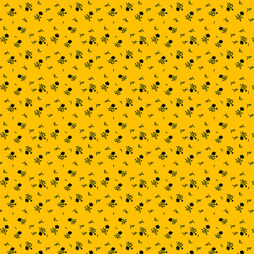 S644 BLACK AND YELLOW DITSY FLORAL PRINT
