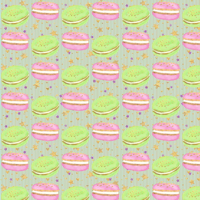 J648 STRIPE MACAROON FOOD PRINT