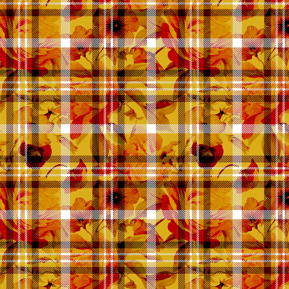 S652 ORANGE RED CHECK FLORAL PRINT