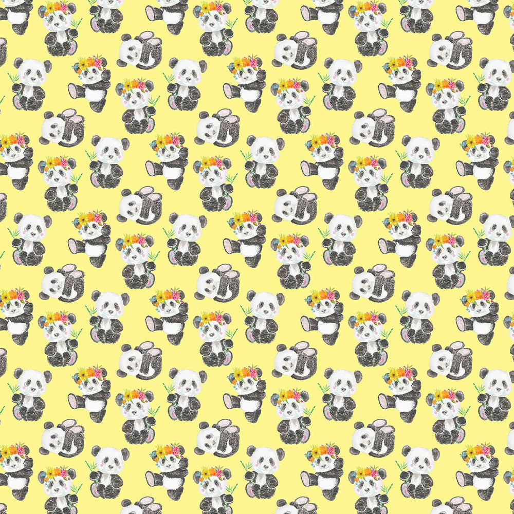 J659 YELLOW BASE CUTE PANDA PRINT