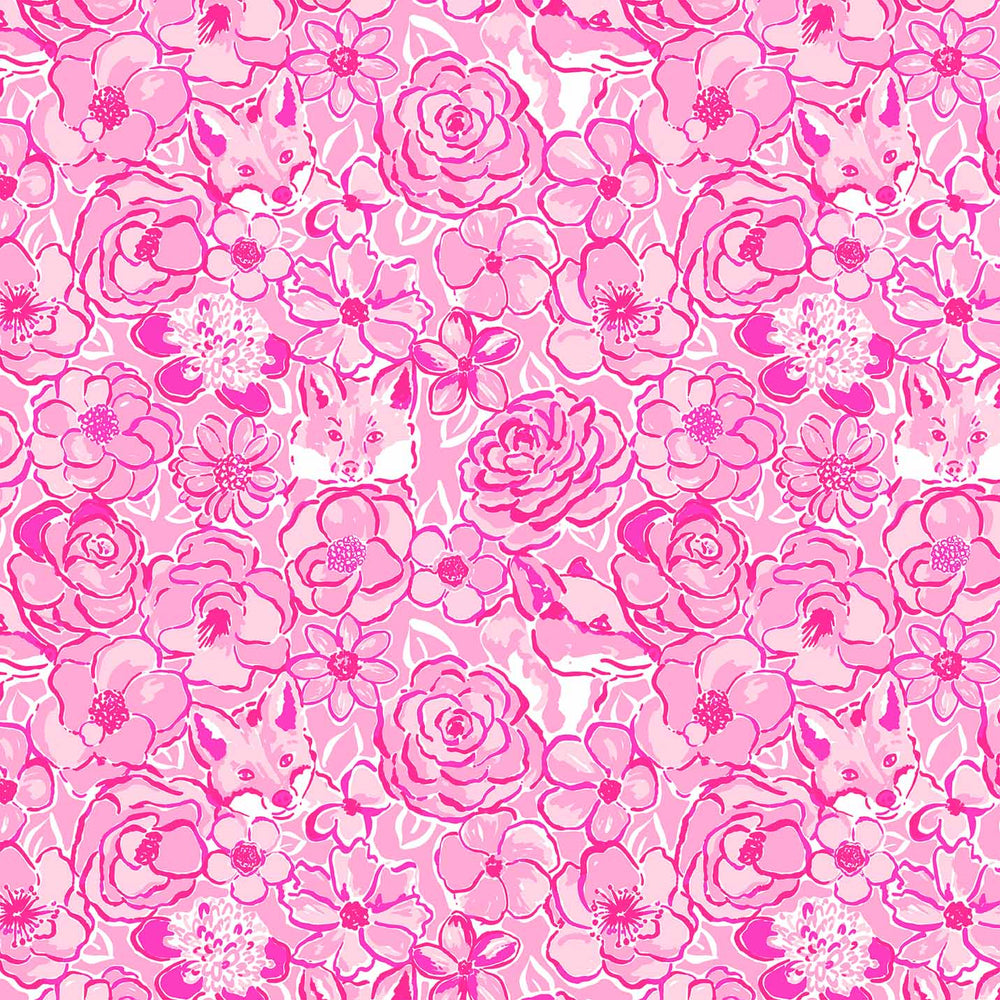 J678 PINK ROSE AND FOX PRINT