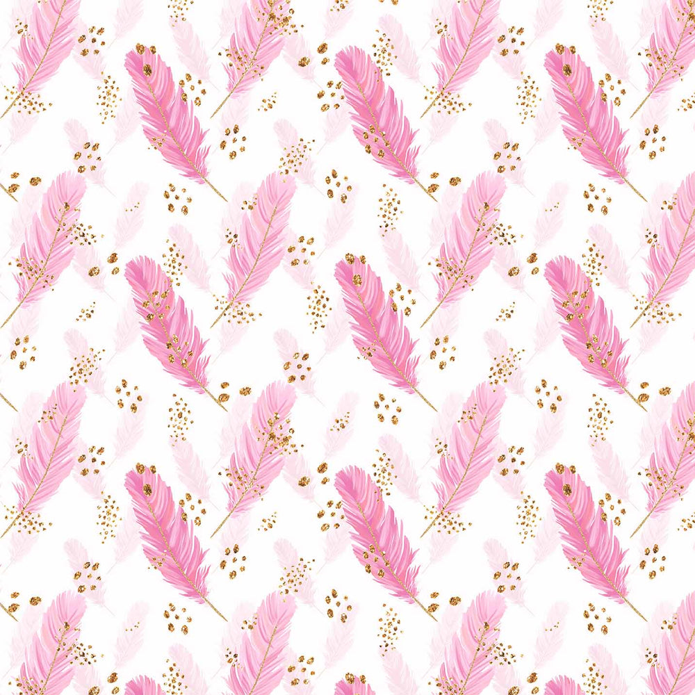 J703 WHITE BASE PINK FEATHER PRINT