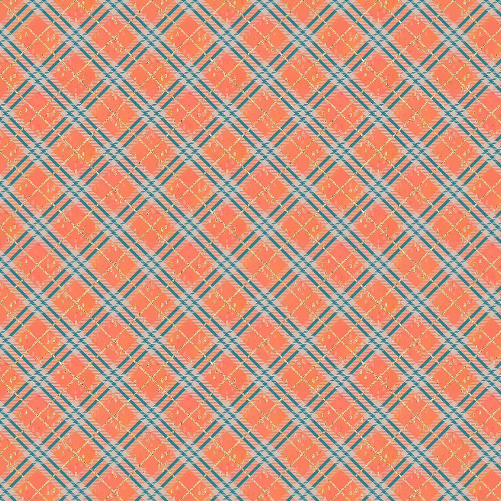 J720 ORANGE AND BLUE PLAID PRINT PRINT