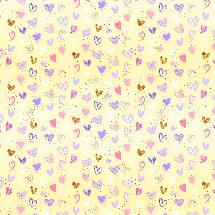 J772 YELLOW BASE MIX HEARTS PRINT