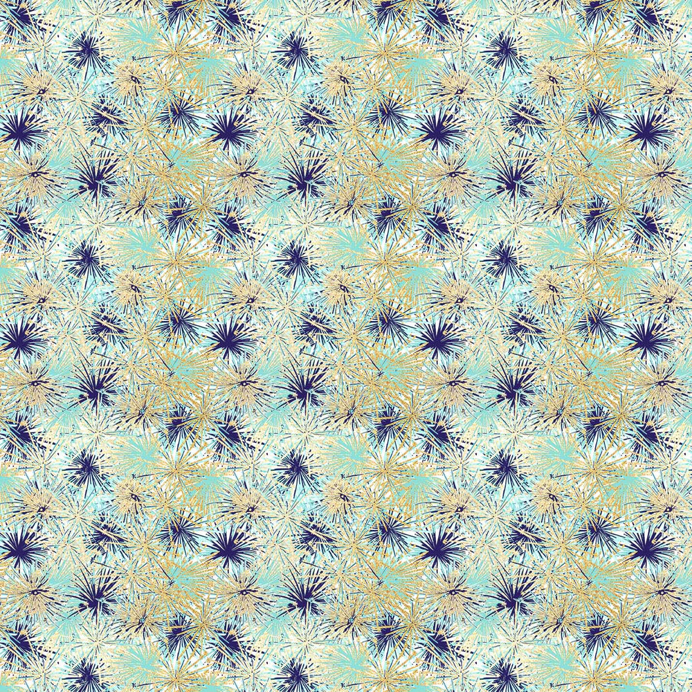 J785 GOLD BLUE TROPICAL LEAF FLORAL PRINT