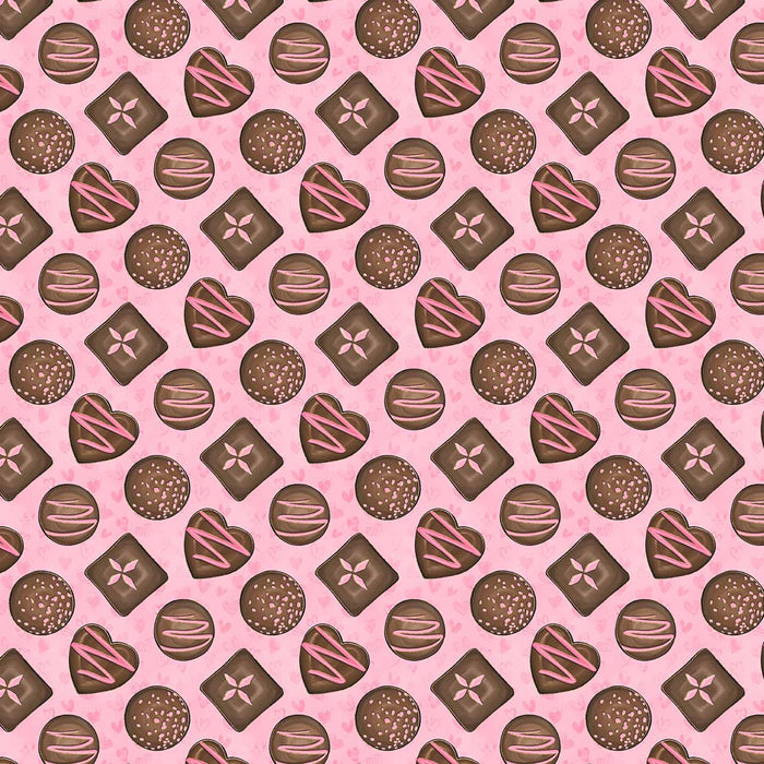 J810 PINK BASE CHOCOLATE HEARTS PRINT