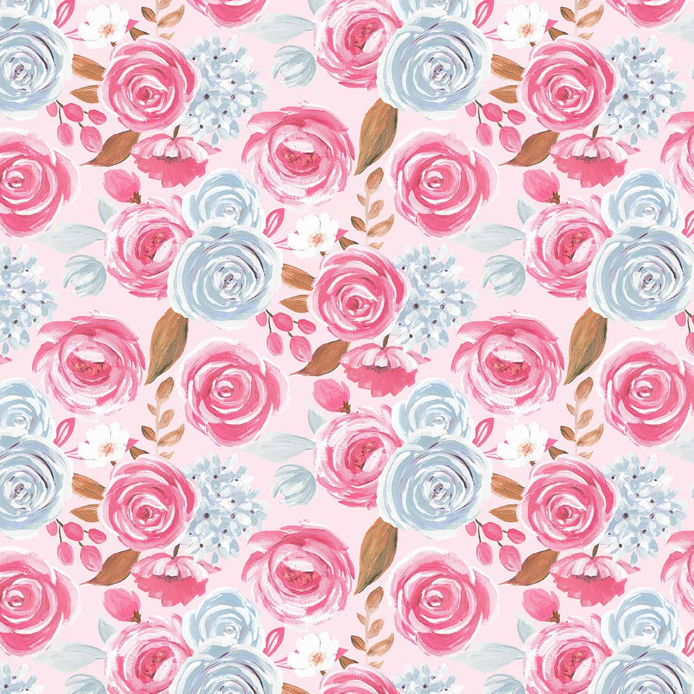 J822 PINK BASE TWO ROSE FLORAL PRINT