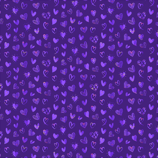 J825 PURPLE BASE LOVELY HEARTS PRINT