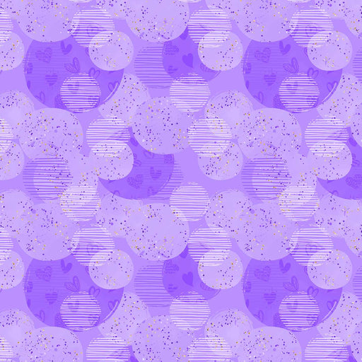J827 PURPLE CIRCLES AND HEARTS PRINT