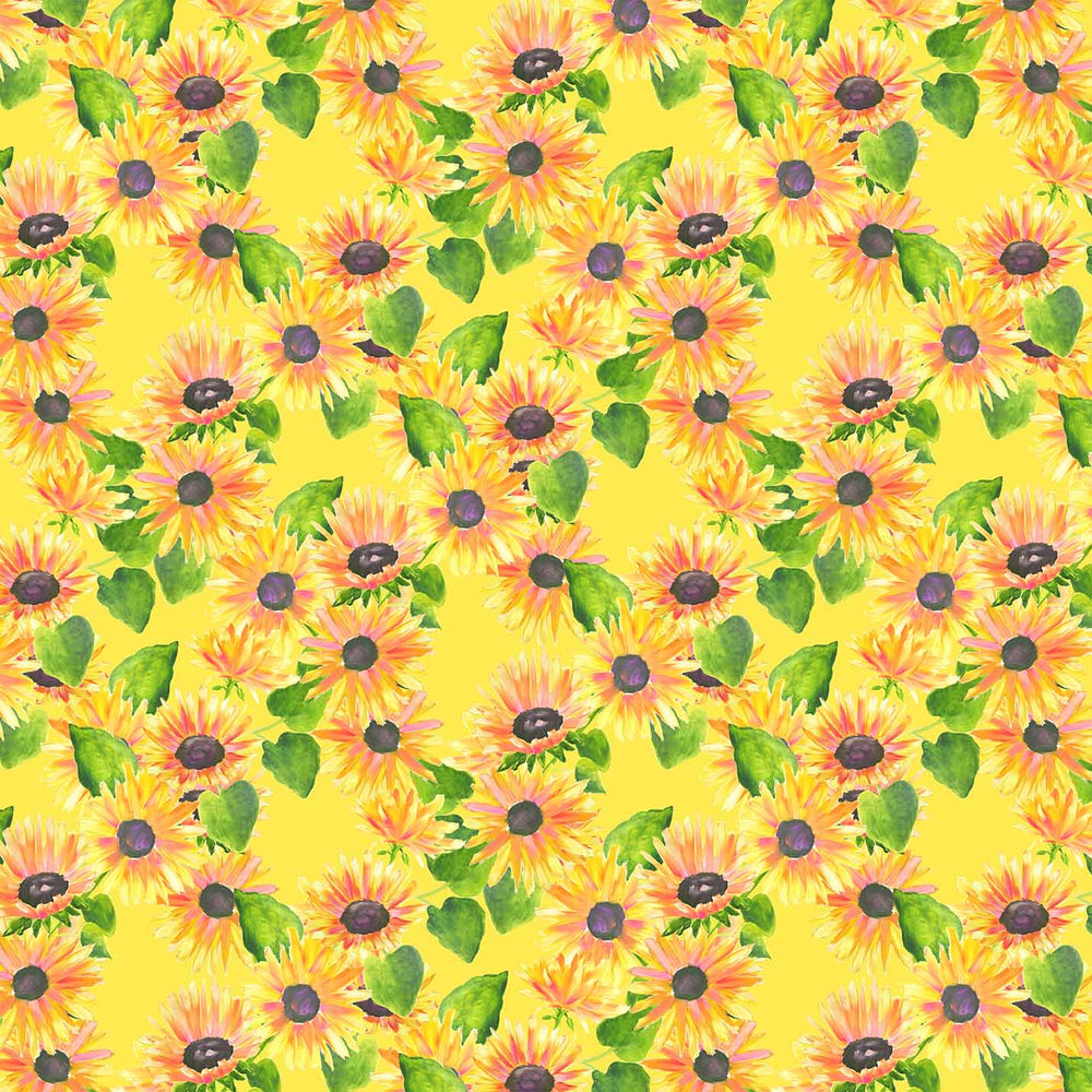 J829 YELLOW SUNFLOWER BRIGHT FLORAL PRINT