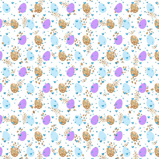 J858 WHITE BASE HEARTS EGG SPOTS PRINT