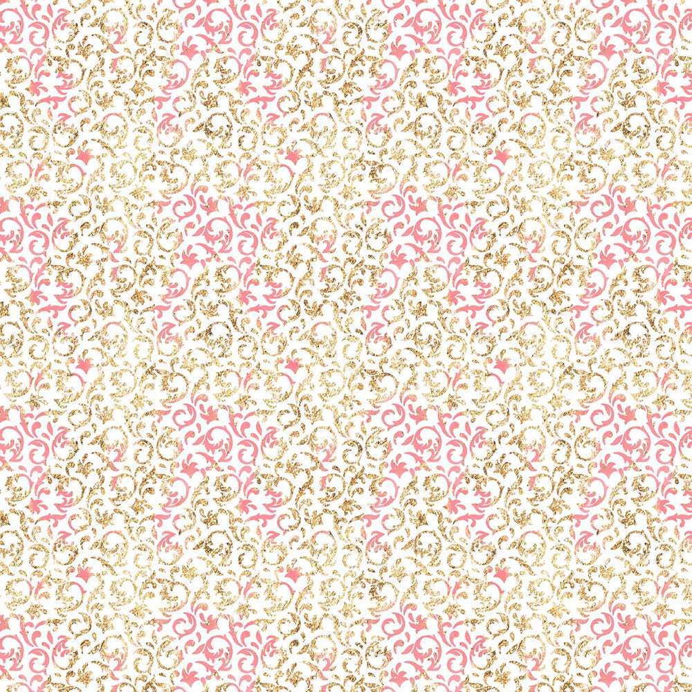 J874 PINK AND GOLD DAMASK PRINT