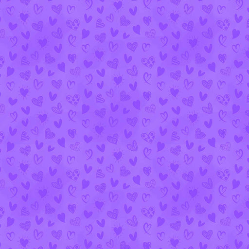 J942 LOVELY PURPLE HEARTS PRINT