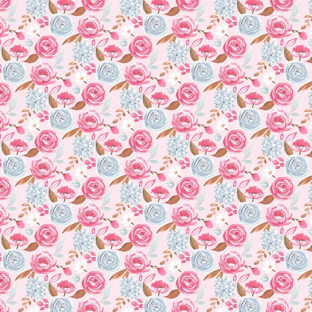 J949 BLUE AND PINK ROSE FLORAL PRINT